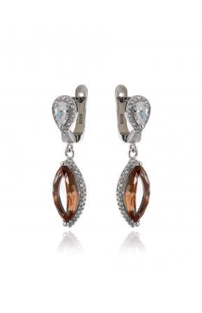 Женские серебряные сережки с нано султанитом (хамелеон, имитация) и цирконами