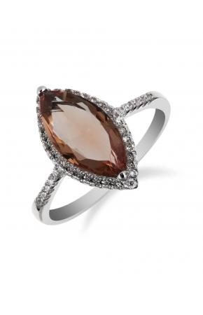 Women's silver ring with zircons and nano sultanite( chameleon, imitation)