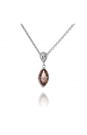 Women silver pendant with nano sultanite (chameleon, imitation) and zircons