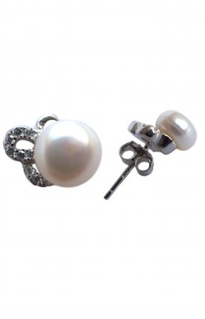 Women's silver earrings with bow with white pearls and zircons