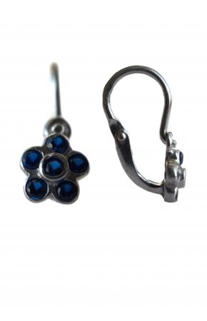 Children's silver earrings in the shape of a flower with blue cubic zirconia