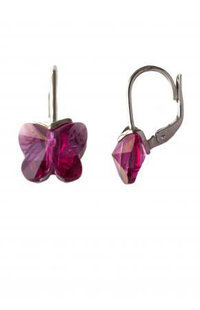 Серебряные розовые серьги с кристаллами бабочки Сваровски
