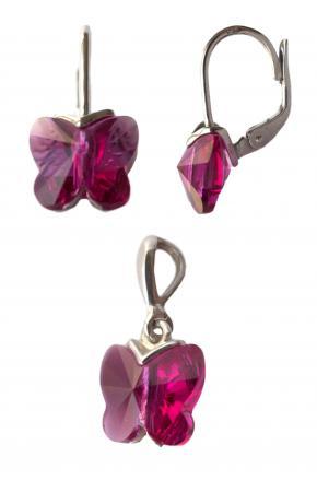 Набор серебряных украшений с розовыми кристаллами Сваровски в форме бабочки