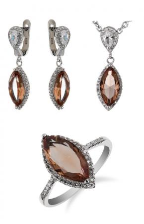 Set of silver jewelry with nano sultanite (chameleon stone, imitation) and cubic zirconia