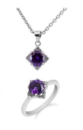 Set of silver jewelry with purple zircon 2